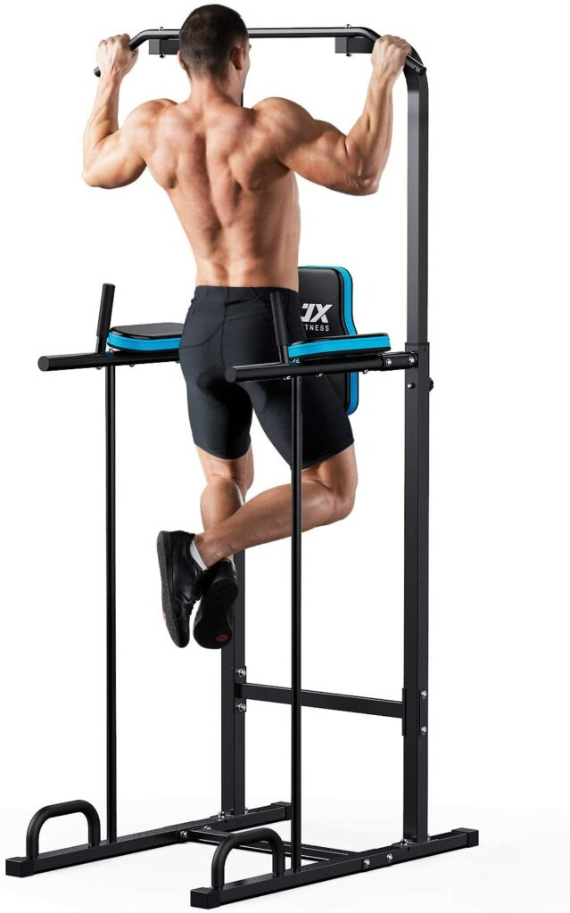 JX FITNESS Power Tower Adjustable Dip Station Pull up Bar