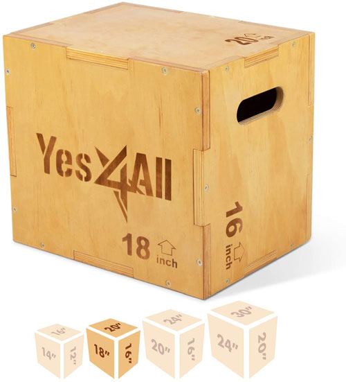 Yes4All 3-in-1 Wood Plyo Box